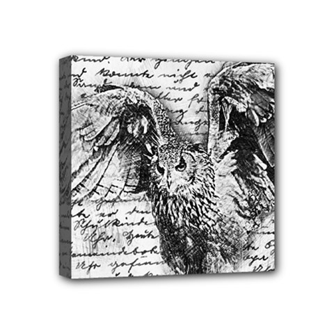 Vintage owl Mini Canvas 4  x 4