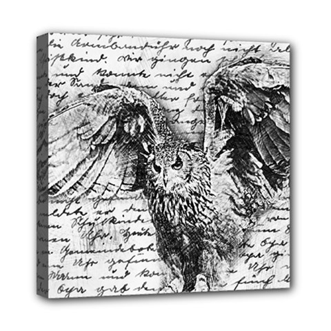 Vintage owl Mini Canvas 8  x 8
