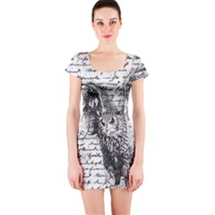 Vintage owl Short Sleeve Bodycon Dress