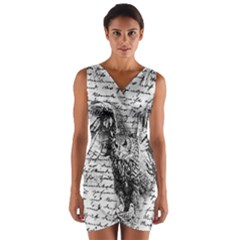 Vintage owl Wrap Front Bodycon Dress