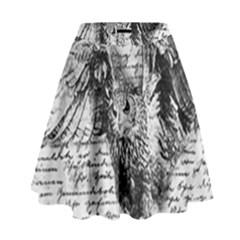 Vintage owl High Waist Skirt