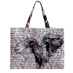 Vintage owl Medium Zipper Tote Bag