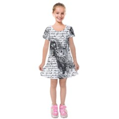 Vintage owl Kids  Short Sleeve Velvet Dress