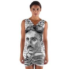 Nikola Tesla Wrap Front Bodycon Dress