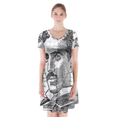 Nikola Tesla Short Sleeve V-neck Flare Dress