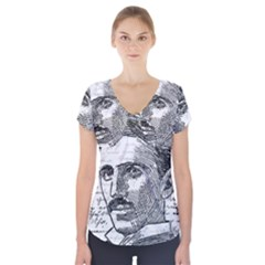 Nikola Tesla Short Sleeve Front Detail Top