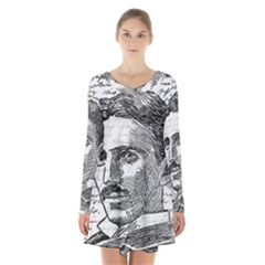 Nikola Tesla Long Sleeve Velvet V-neck Dress