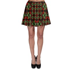 Asian Ornate Patchwork Pattern Skater Skirt