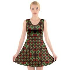 Asian Ornate Patchwork Pattern V Neck Sleeveless Skater Dress