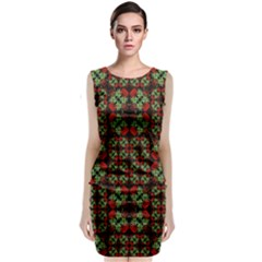 Asian Ornate Patchwork Pattern Classic Sleeveless Midi Dress