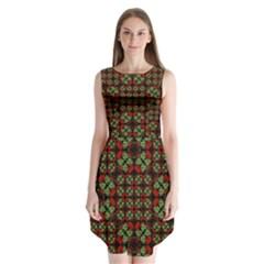 Asian Ornate Patchwork Pattern Sleeveless Chiffon Dress