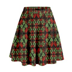 Asian Ornate Patchwork Pattern High Waist Skirt