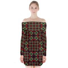 Asian Ornate Patchwork Pattern Long Sleeve Off Shoulder Dress