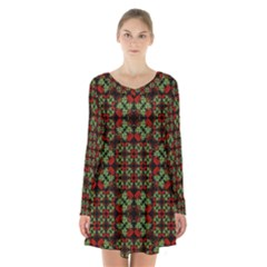Asian Ornate Patchwork Pattern Long Sleeve Velvet V Neck Dress