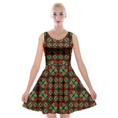 Asian Ornate Patchwork Pattern Velvet Skater Dress