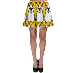 Yellow Owl Background Skater Skirt