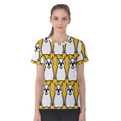Yellow Owl Background Women s Cotton Tee
