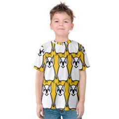 Yellow Owl Background Kids  Cotton Tee