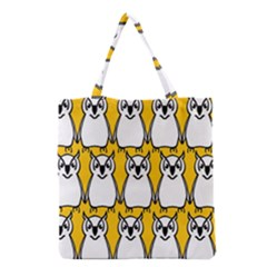 Yellow Owl Background Grocery Tote Bag