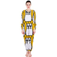 Yellow Owl Background OnePiece Jumpsuit (Ladies)