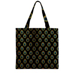 Peacock Inspired Background Grocery Tote Bag