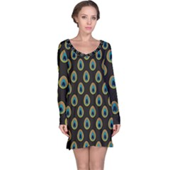 Peacock Inspired Background Long Sleeve Nightdress