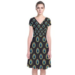 Peacock Inspired Background Short Sleeve Front Wrap Dress