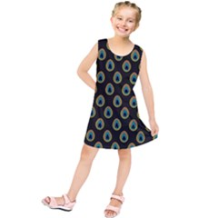 Peacock Inspired Background Kids  Tunic Dress