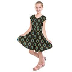 Peacock Inspired Background Kids  Short Sleeve Dress