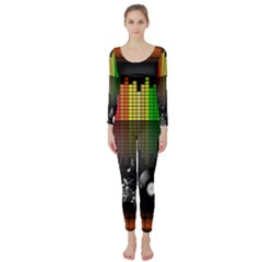 Music Pattern Long Sleeve Catsuit