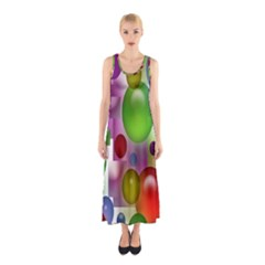 Colorful Bubbles Squares Background Sleeveless Maxi Dress
