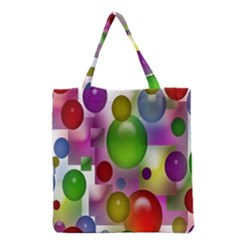 Colorful Bubbles Squares Background Grocery Tote Bag