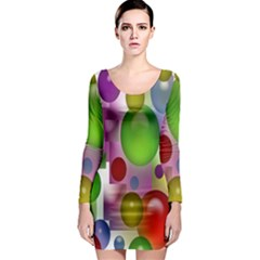 Colorful Bubbles Squares Background Long Sleeve Bodycon Dress