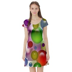 Colorful Bubbles Squares Background Short Sleeve Skater Dress