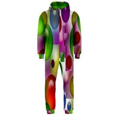Colorful Bubbles Squares Background Hooded Jumpsuit (men)