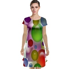 Colorful Bubbles Squares Background Cap Sleeve Nightdress