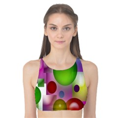 Colorful Bubbles Squares Background Tank Bikini Top