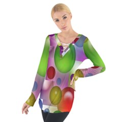 Colorful Bubbles Squares Background Women s Tie Up Tee