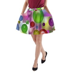 Colorful Bubbles Squares Background A-Line Pocket Skirt