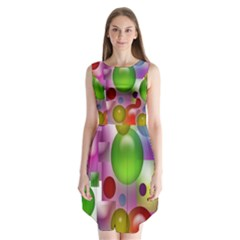 Colorful Bubbles Squares Background Sleeveless Chiffon Dress
