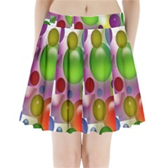 Colorful Bubbles Squares Background Pleated Mini Skirt