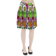 Colorful Bubbles Squares Background Pleated Skirt
