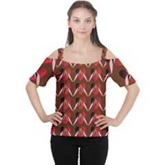 Peacocks Bird Pattern Women s Cutout Shoulder Tee