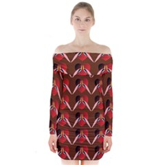 Peacocks Bird Pattern Long Sleeve Off Shoulder Dress