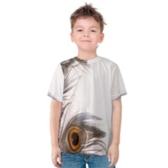 Peacock Feathery Background Kids  Cotton Tee