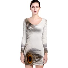 Peacock Feathery Background Long Sleeve Bodycon Dress