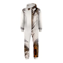 Peacock Feathery Background Hooded Jumpsuit (Kids)