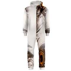 Peacock Feathery Background Hooded Jumpsuit (men)