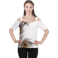 Peacock Feathery Background Women s Cutout Shoulder Tee
