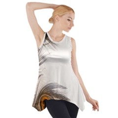 Peacock Feathery Background Side Drop Tank Tunic